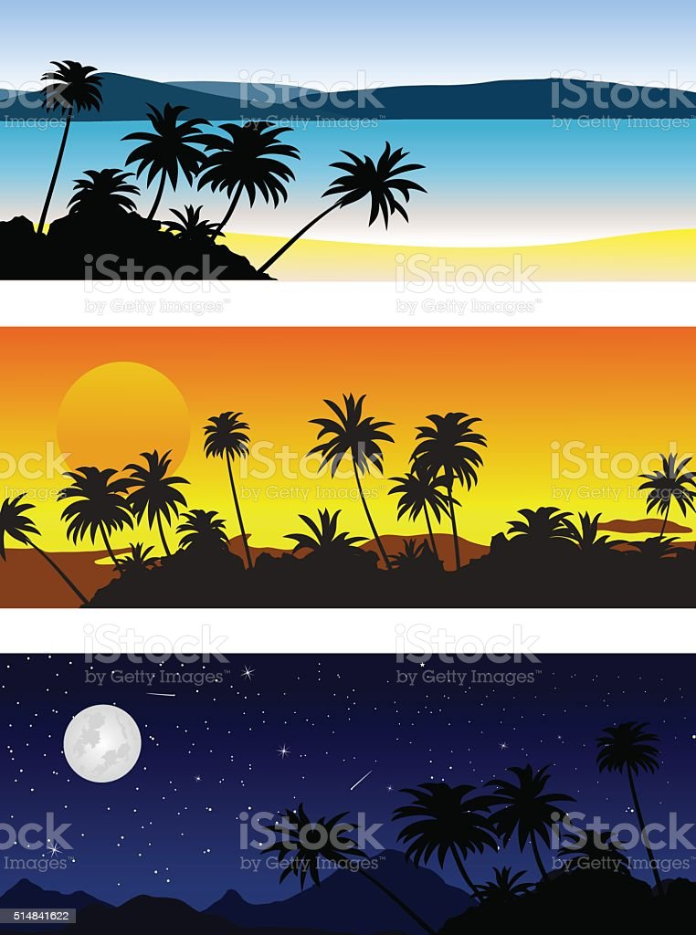 Tropical landscapes in the different time of day. Vector set. vector art illustration