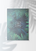 Tropical leaf and palm shadow silhouette effect on Rainforest poster
