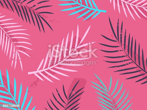 Tropical leaf shapes background.