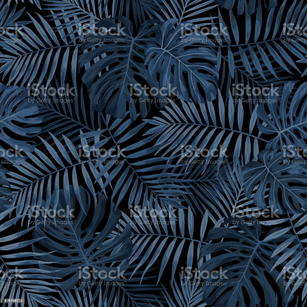 Tropical Leaf Pattern in Dark Indigo Blue royalty-free tropical leaf pattern in dark indigo blue stock illustration - download image now
