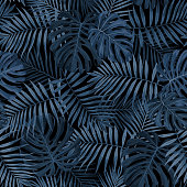 Dark Indigo Blue Tropical Leaf background design featuring palm and monstera leaves. Seamless vector pattern.