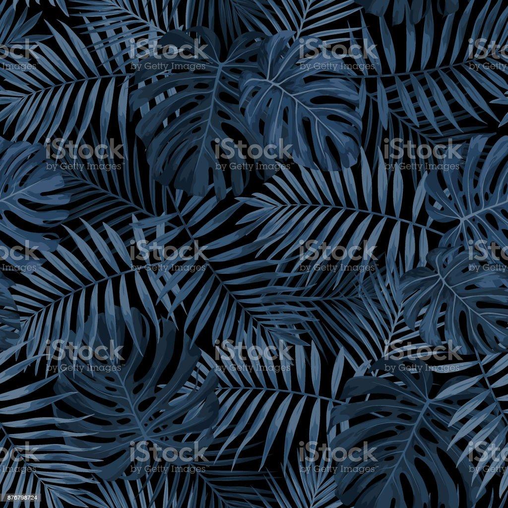 Tropical Leaf Pattern in Dark Indigo Blue vector art illustration