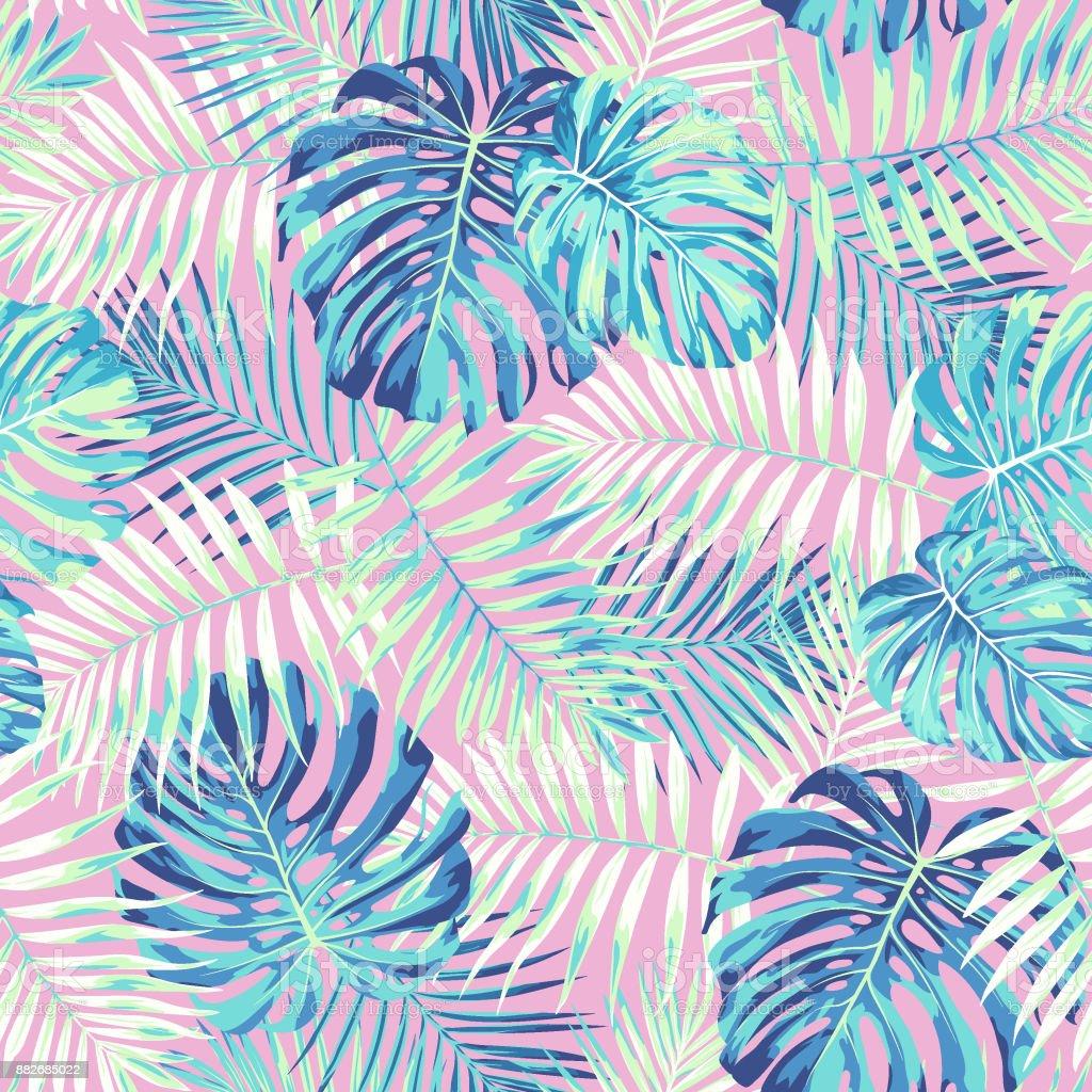 Patrón de hoja tropical en rosa y azul - ilustración de arte vectorial
