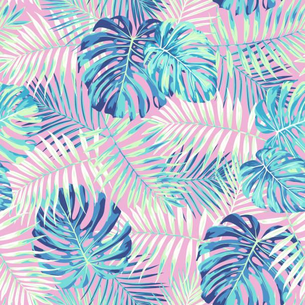 ilustraciones, imágenes clip art, dibujos animados e iconos de stock de patrón de hoja tropical en rosa y azul - moda de verano