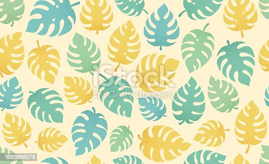 Tropical leaf seamless background.