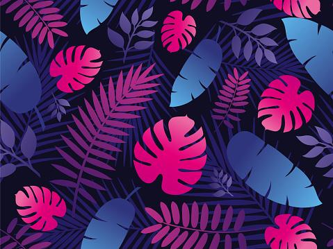 Tropical Leaf Seamless Pattern in Dark Background.