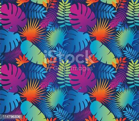 Tropical Leaf Seamless Pattern in Dark Indigo Blue - Illustration