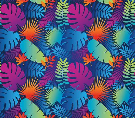 Tropical Leaf Seamless Pattern in Dark Indigo Blue.