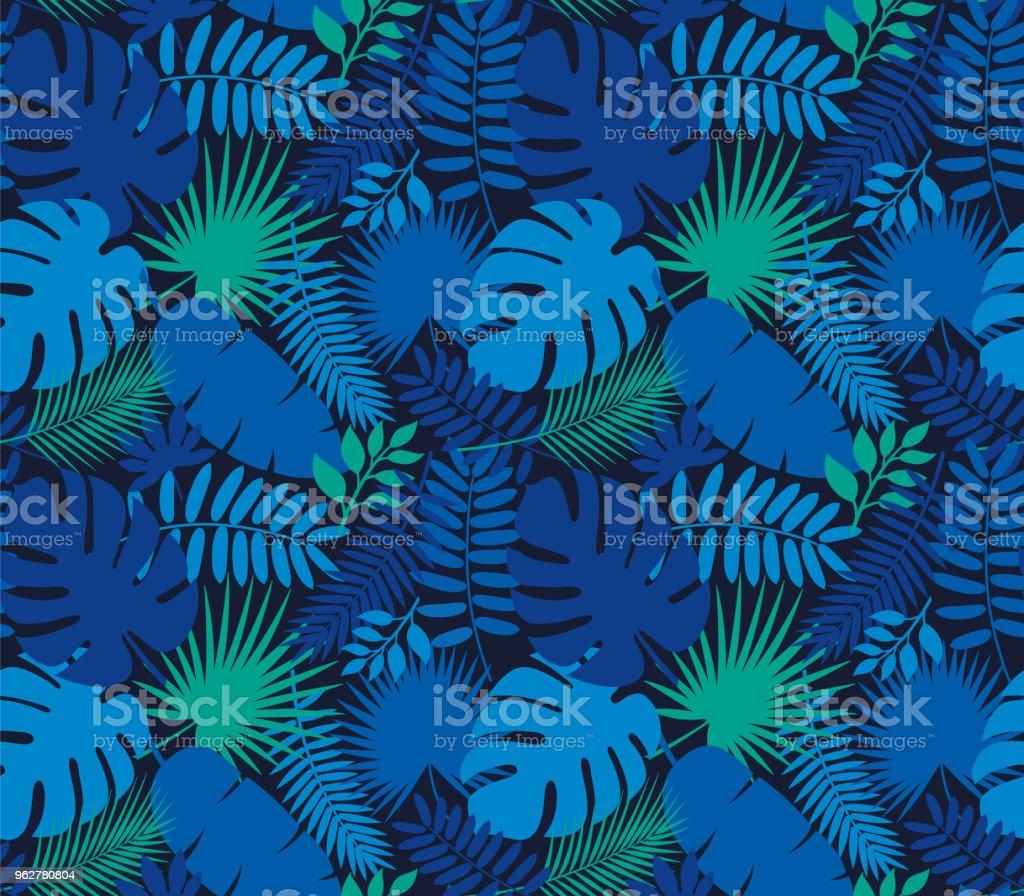 Tropical Leaf Seamless Pattern in Dark Indigo Blue - arte vettoriale royalty-free di Arte