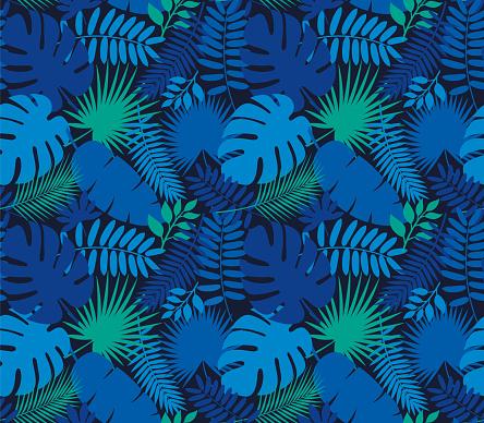 Tropical Leaf Seamless Pattern in Dark Indigo Blue