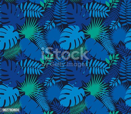 Tropical Leaf Seamless Pattern in Dark Indigo Blue - Illustration