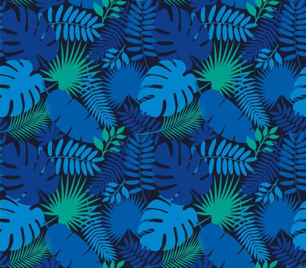 Tropical Leaf Seamless Pattern in Dark Indigo Blue Tropical Leaf Seamless Pattern in Dark Indigo Blue - Illustration hawaiian culture stock illustrations