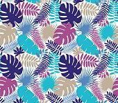 Tropical Leaf Seamless Pattern - Illustration