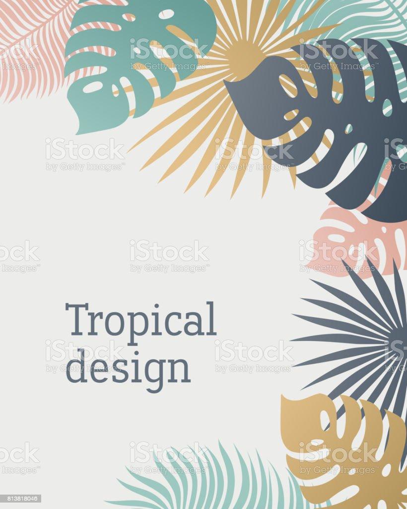 Ilustración de Plantilla De Hoja Tropical En Colores Pastel Verano ...