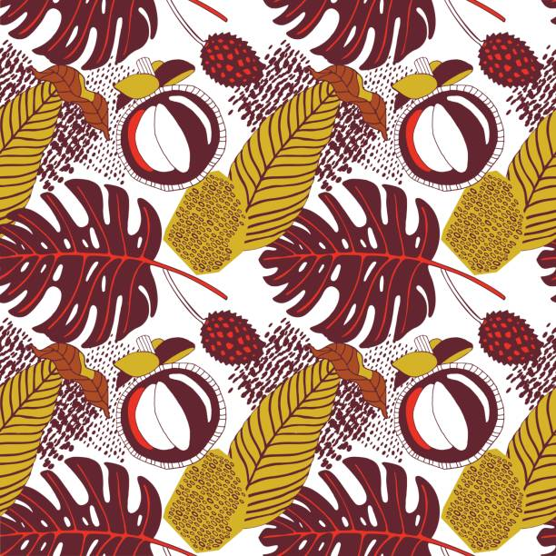 Tropical leaves and fruits, exotic print. vector art illustration