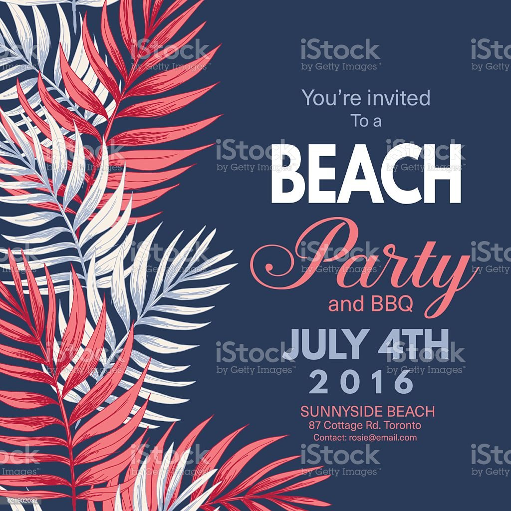 Tropical Leaves Background Beach Party Invitation vector art illustration