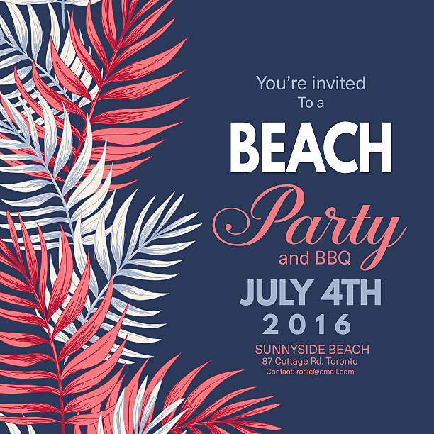 Tropical Leaves Background Beach Party Invitation ベクターアートイラスト