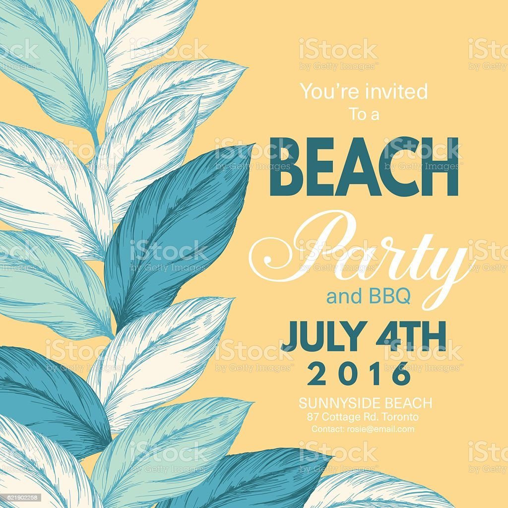 tropical leaves background beach party invitation のイラスト素材