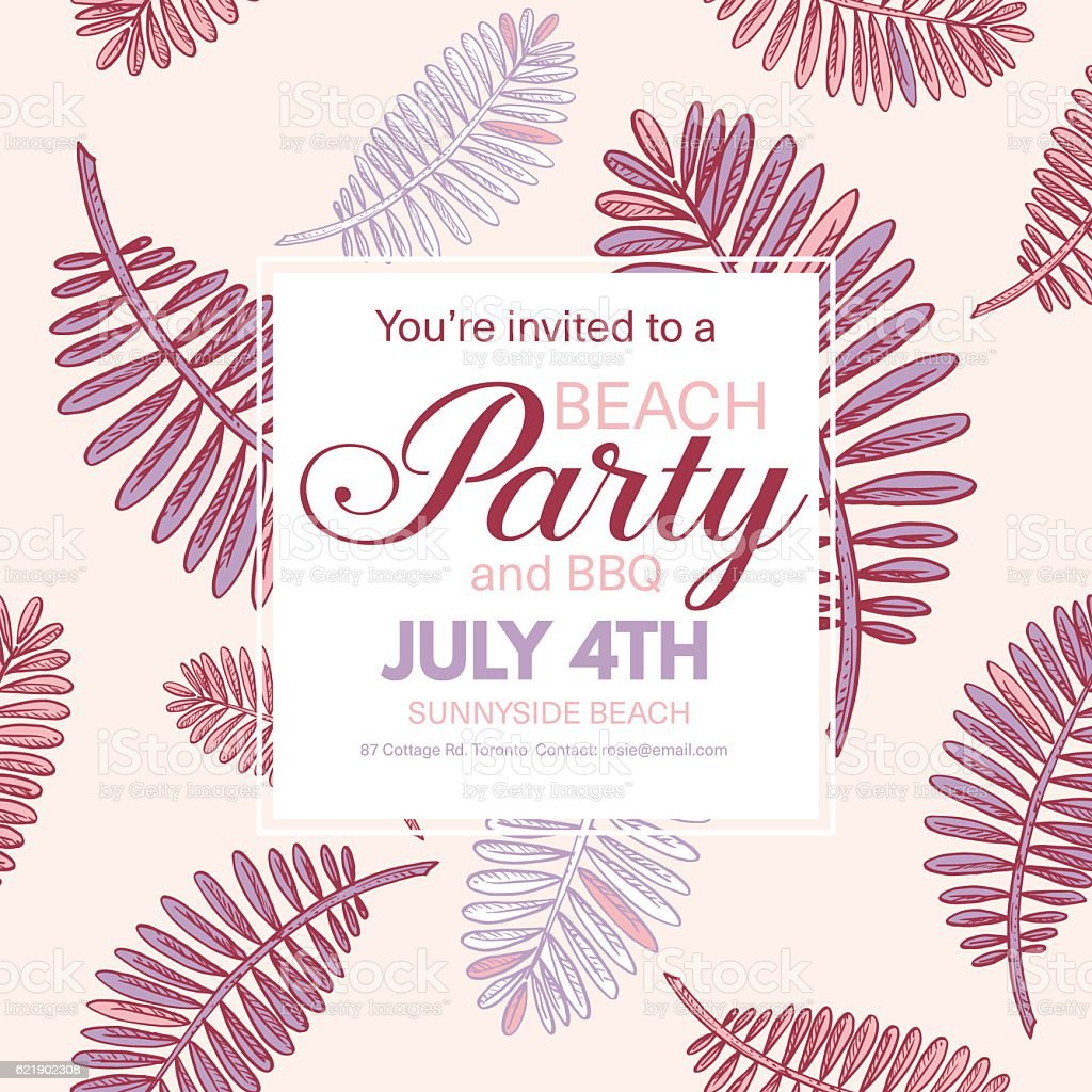 tropical leaves background beach party invitation お祝いのベクター