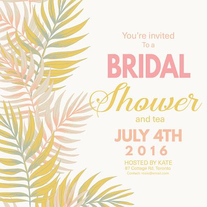 Tropical Leaves Background Bridal Shower Invitation
