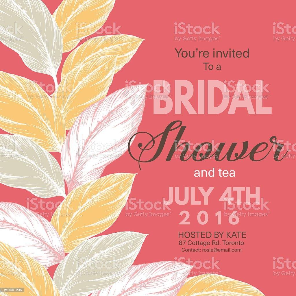 Tropical Leaves Background Bridal Shower Invitation Stock Vector Art ...