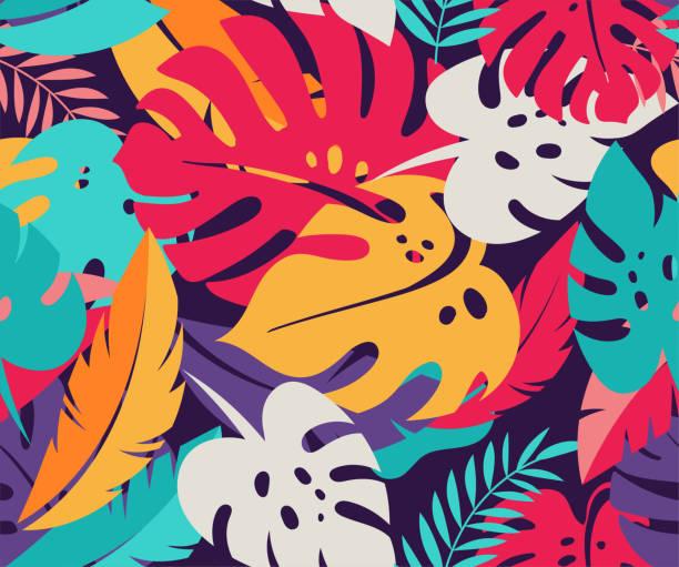 bildbanksillustrationer, clip art samt tecknat material och ikoner med tropiska löv, färgglada sömlösa mönster - street dance