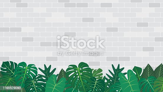 Tropical leaves decoration on white brick wall background - Vector illustration