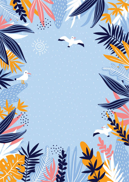 tropical leaves frame with marine seagulls. hand drawn summer card.  vector illustration. - beach fashion stock illustrations, clip art, cartoons, & icons