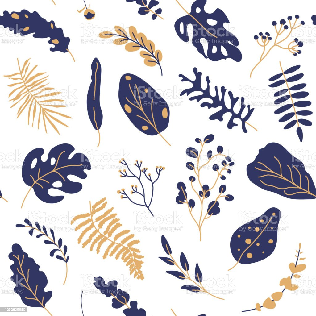 Tropical Leaves Gold Blue Seamless Pattern Vector Stock Illustration Download Image Now Istock Black and gold tropical leaves. https www istockphoto com vector tropical leaves gold blue seamless pattern vector gm1252805680 365693446