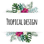 Tropical Leaves Illustration. Summer Vector Design Element.