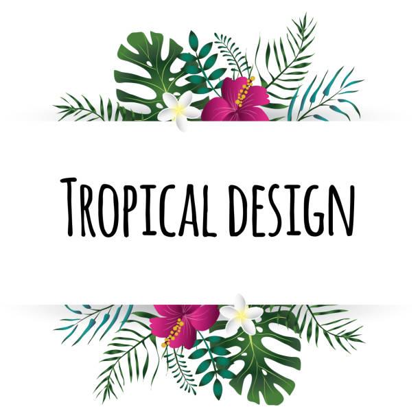 tropical leaves illustration. summer vector design element. - hawaiian lei stock illustrations, clip art, cartoons, & icons