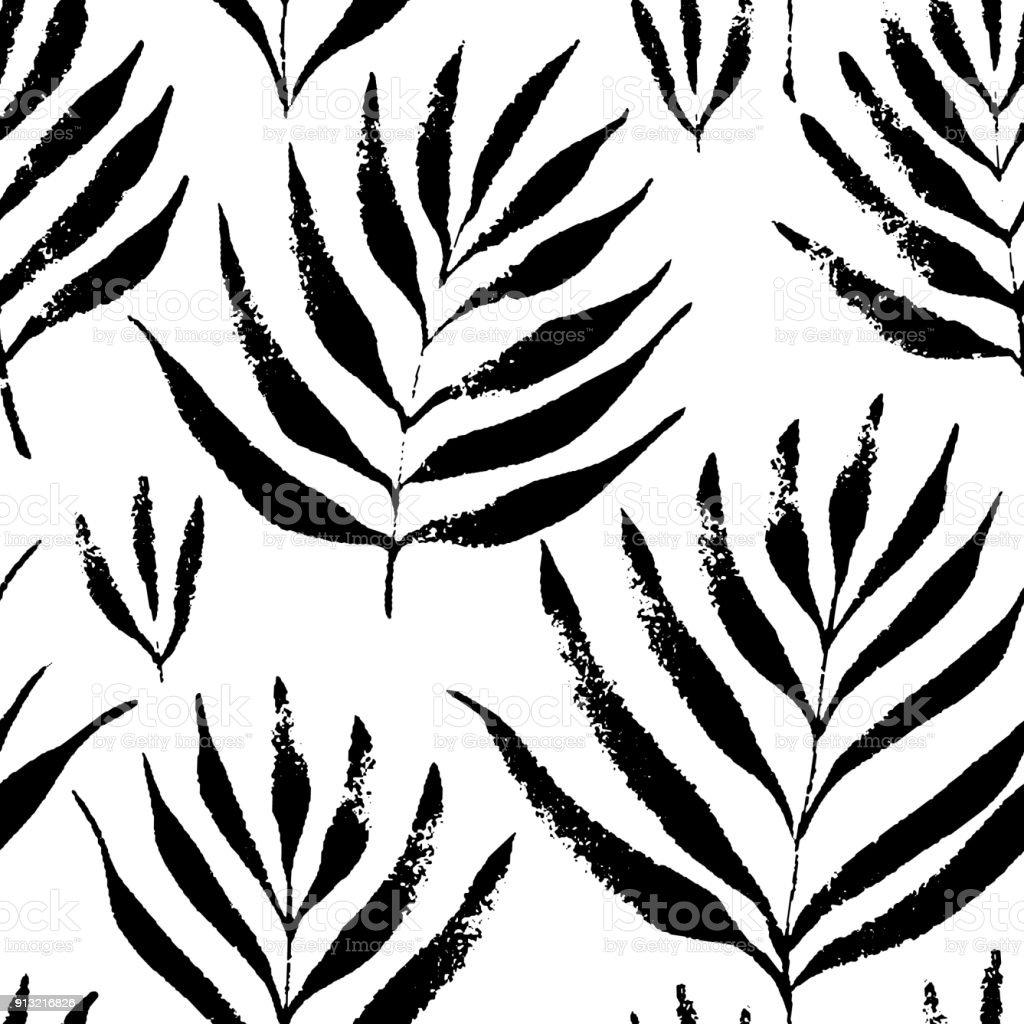 熱帯の葉ジャングル パターンシームレスな手描き植物パターンベクトルの