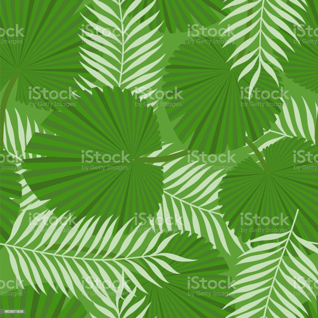 Tropical leaves. Jungle. Seamless pattern. Vector illustration. - Royalty-free Backgrounds stock vector