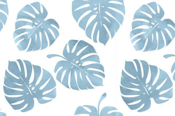 Tropische Blätter, Monstera Muster – Vektorgrafik
