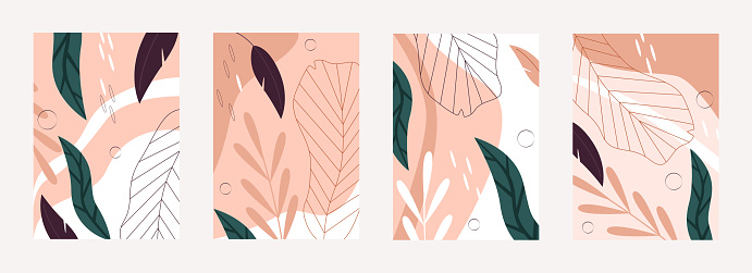 Tropical leaves nature pattern set, abstract natural texture