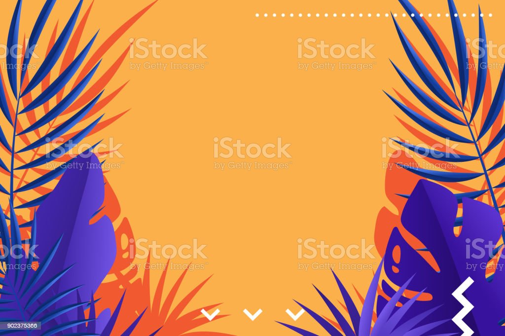 Tropical leaves of palm retro background design vector art illustration