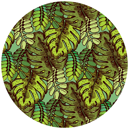 Tropical Leaves Pattern. Summer Jungle theme. Texture background illustration.