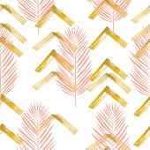 Trendy Pattern With Tropical Leaves, Brush Strokes and Gold elements