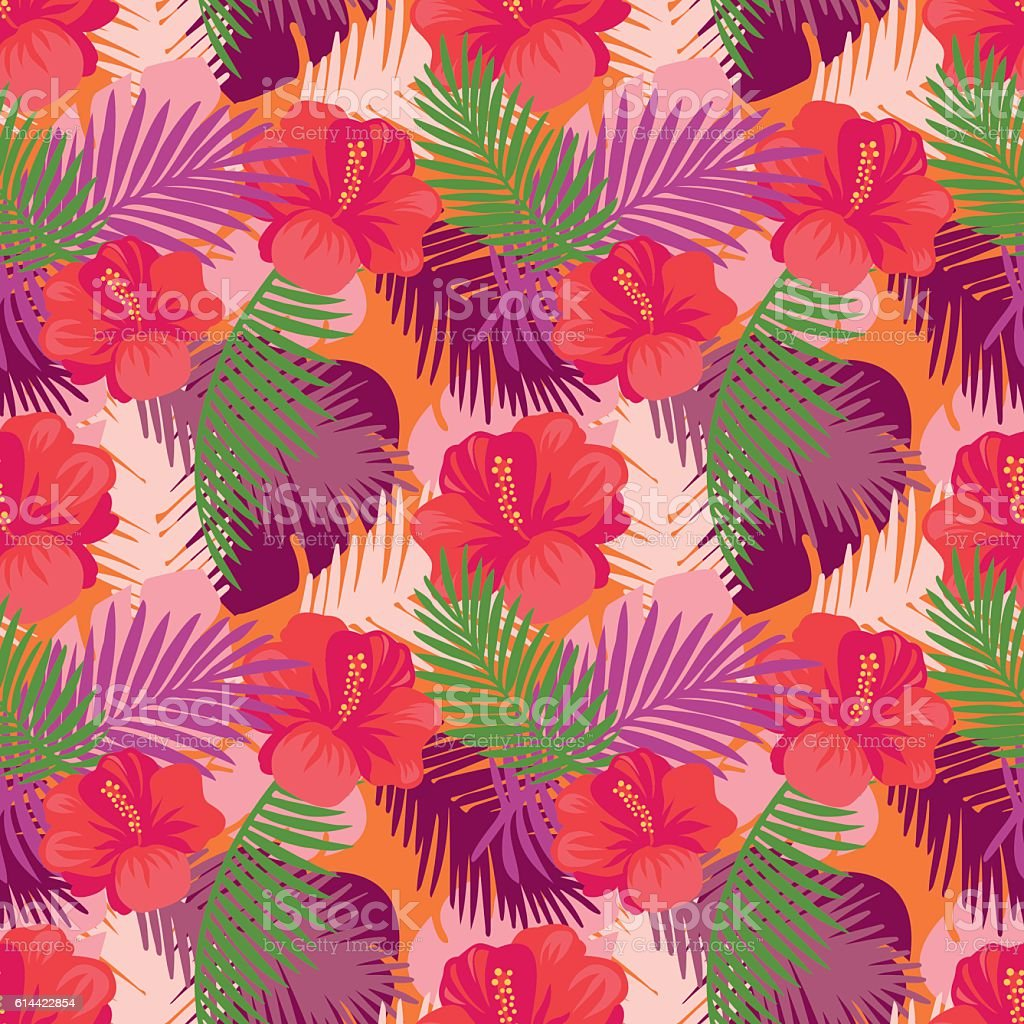 tropical leaves pattern with flowers のイラスト素材 614422854 istock