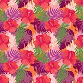 Tropical leaves pattern with flowers.