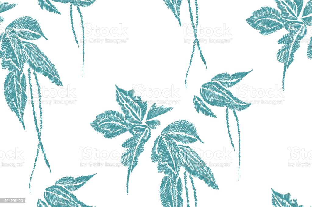 Tropical Leaves Seamless Background Pattern Vector Illustration Hand Drawn Embroidery Design Stock Illustration Download Image Now Istock Bring some tropical shine to your home with this easy diy gold leaf art print. https www istockphoto com vector tropical leaves seamless background pattern vector illustration hand drawn gm914905420 251802688