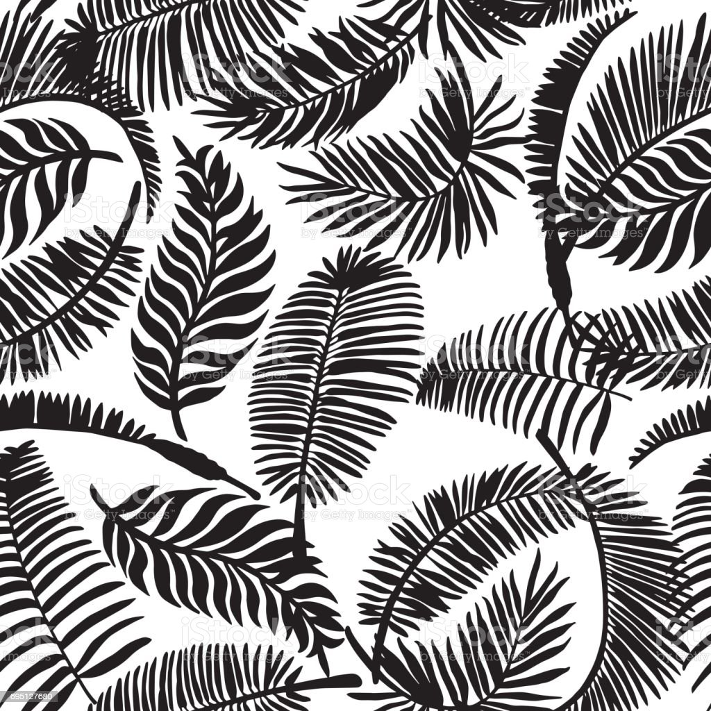 Tropical Leaves Seamless Pattern. Exotic Palm Leaves Background. Hand Drawn Black and White illustration.