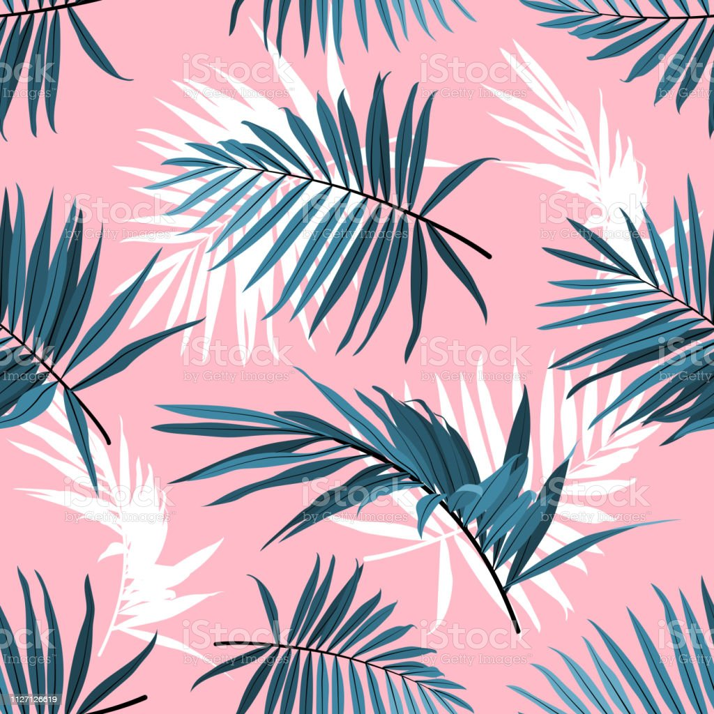 Tropical Leaves Seamless Pattern Green Palm Fronds On A Pink Background Summer Tropical Backdrop Vector Repeat Ornament Stock Illustration Download Image Now Istock Paper tropical leaves and flowers over pastel background. tropical leaves seamless pattern green palm fronds on a pink background summer tropical backdrop vector repeat ornament stock illustration download image now istock
