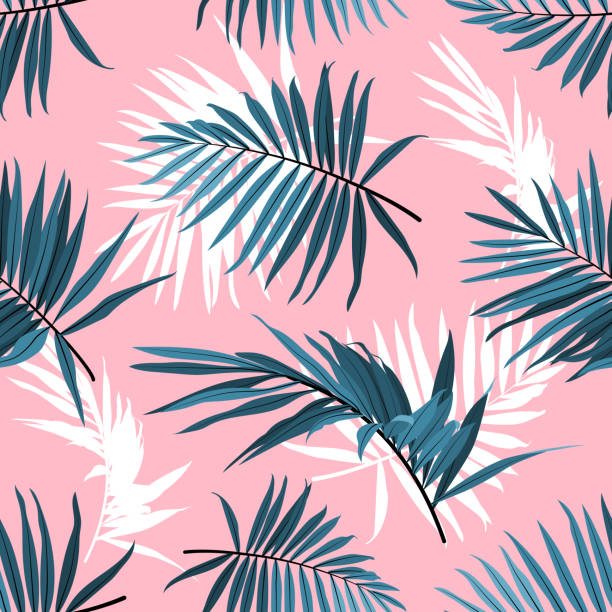 Tropical leaves seamless pattern, Green palm fronds on a pink background. Summer tropical backdrop, Vector repeat ornament Tropical leaves seamless pattern, Green palm fronds on a pink background. Summer tropical backdrop, Vector illustration tropical pattern stock illustrations