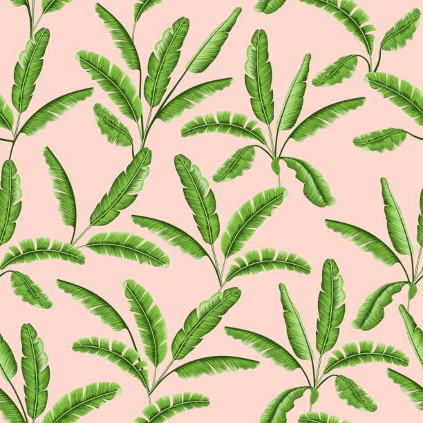 Tropical leaves seamless pattern vector art illustration