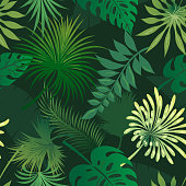 Tropical leaves seamless pattern. Palm leafs green pattern vector wallpaper for tropical print design