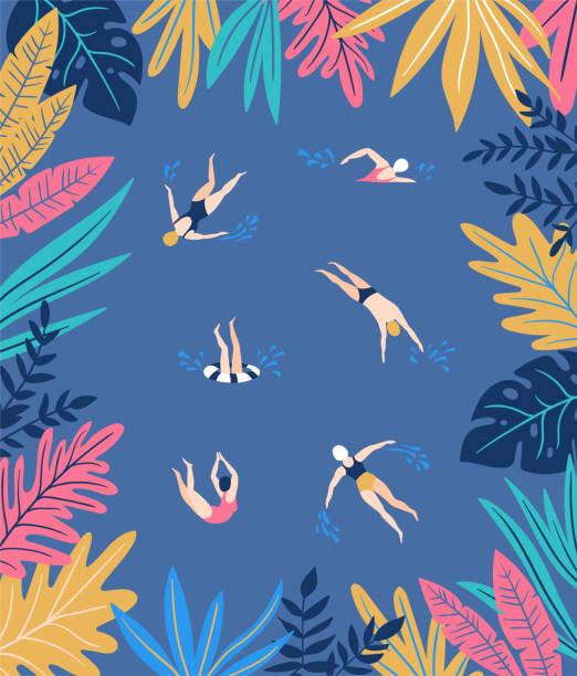illustrazioni stock, clip art, cartoni animati e icone di tendenza di tropical leaves. vector frame in scandinavian style. hand drawn background. - nuoto mare