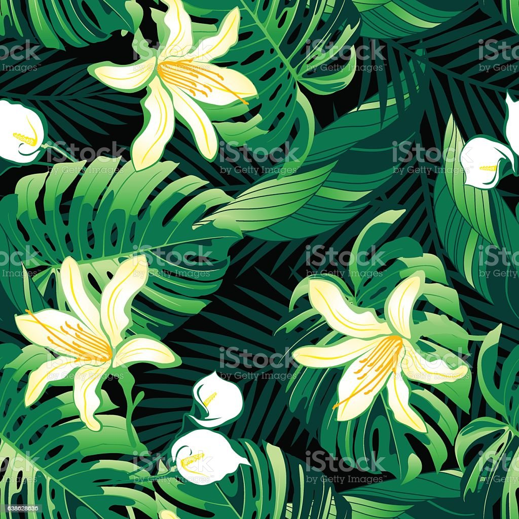 Tropical Lush Yellow Flowers Seamless Pattern Stock Vector Art