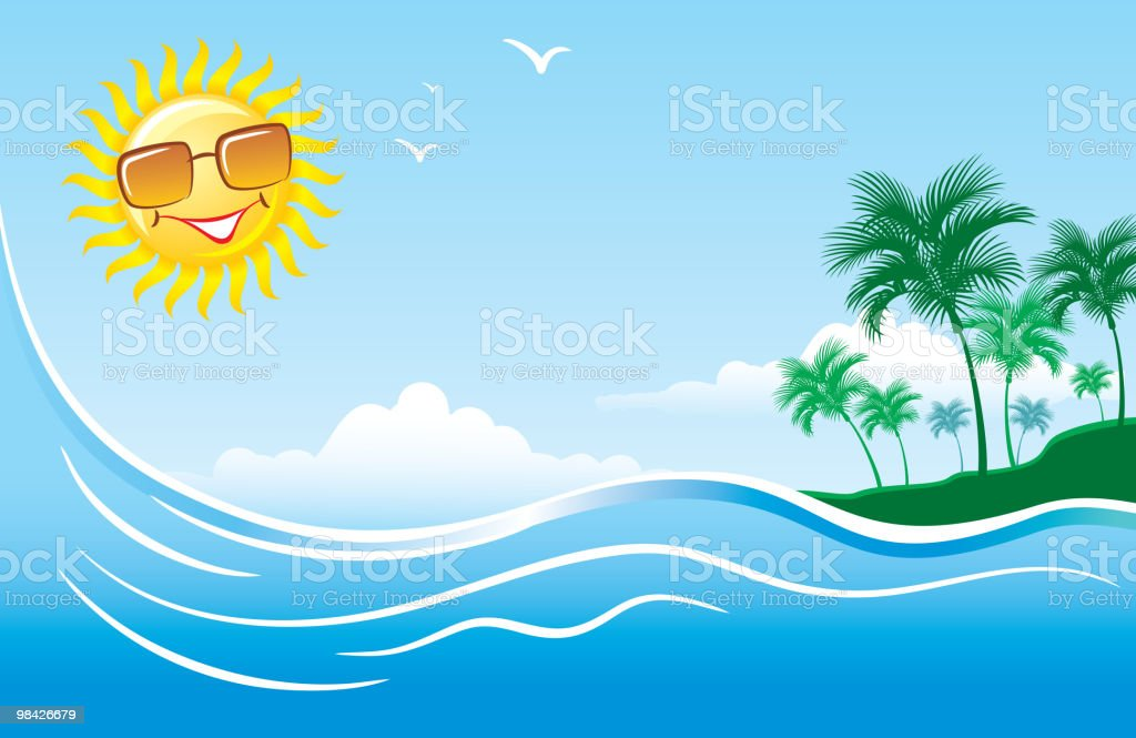 Tropical marine landscape royalty-free stock vector art