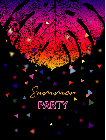 Tropical Monstera Leaf Party Poster